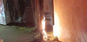 Stand de vendas tem fiação elétrica danificada e pega fogo na Mangabeiras
