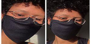 Dona de casa cria máscara de proteção que não embaça as lentes do óculos