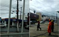 Vídeos: fiação de poste pega fogo no Poço e bombeiros são acionados