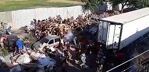 Vídeo mostra saque a caminhão frigorífico em comunidade do Rio; assista