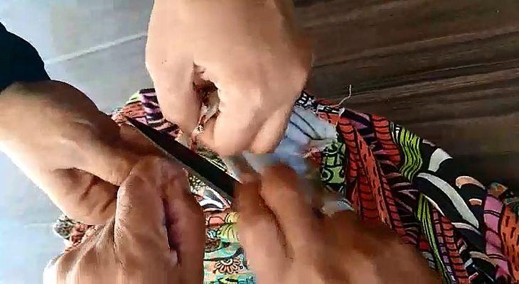Agentes encontraram drogas na bainha de vestido