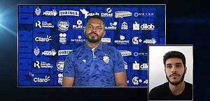 Goleiro Thiago Rodrigues responde pergunta do repórter Bruno Protasio em coletiva online