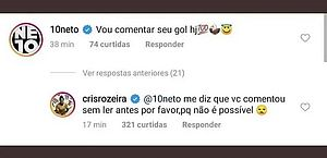 Neto diz que Andressa Alves irá fazer gol em post que atleta anunciava lesão
