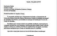 Ofício enviado pelo consulado dos Estados Unidos ao Governo do Maranhão