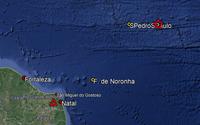 Terremoto atinge o Atlântico; estrela aponta o epicentro