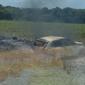 Carro é atingido por outro e pega fogo em canavial; vereador por Jequiá fica ferido