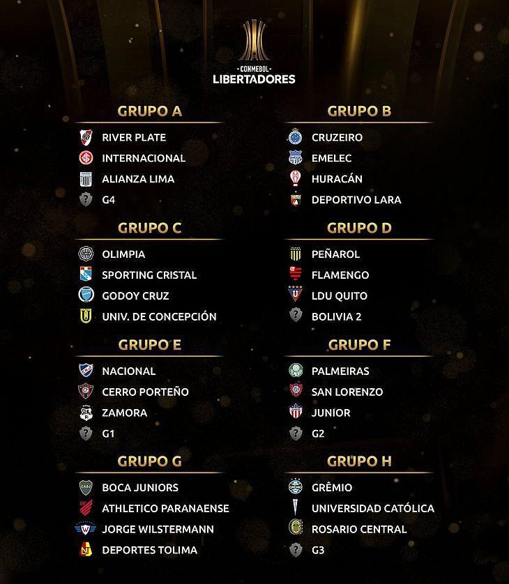 Grupos dos times brasileiros na Copa Libertadores de 2019