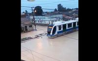 Chuva: em Fernão Velho, VLT circula sobre as águas em ruas alagadas