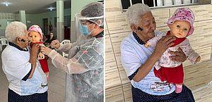 Após ser vacinada contra Covid-19, idosa pede que técnica 'vacine' sua boneca