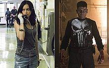A atriz Krysten Ritter, em 'Jessica Jones' e o ator Jon Bernthal, em 'O Justiceiro'