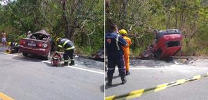 Carros batem de frente e acidente deixa mortos e feridos na BR-104