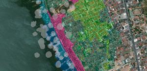 Mapa mostra danos da extração em bairros de Maceió