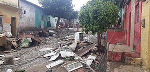 Estragos causados pela inundação em Santana do Ipanema