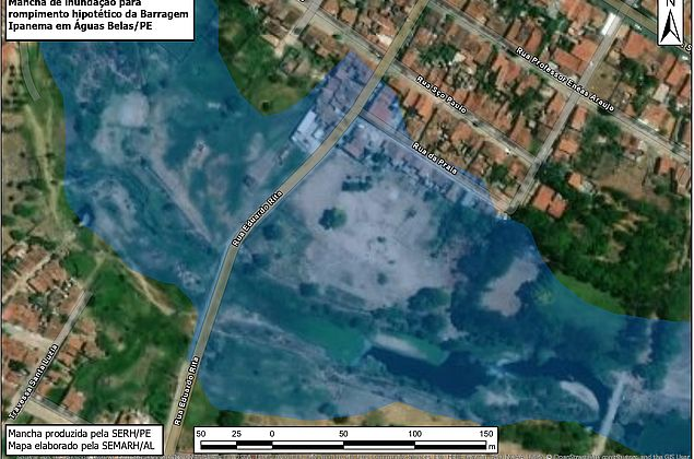 Simulação mostra áreas em AL que podem ser atingidas em caso de rompimento de barragem