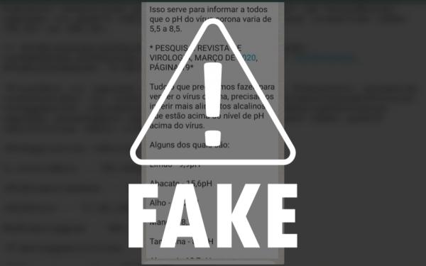 Mensagem afirmando que alimentos alcalinos curariam o coronavírus é falsa